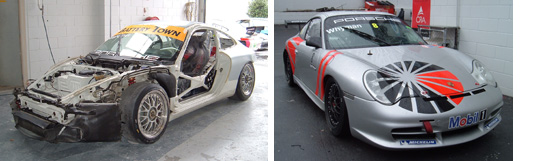 Insurance - Before and After of a Porche